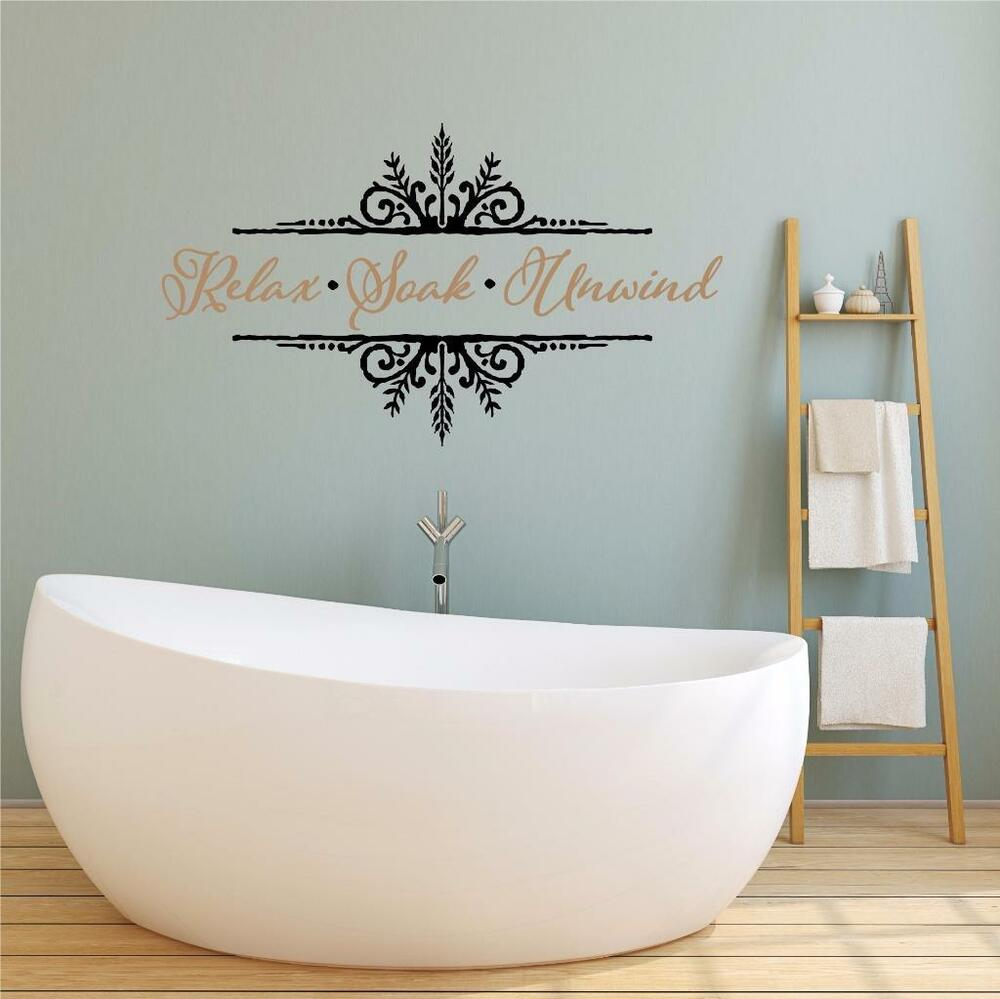 Word Wall Art Vinyl Lettering Home Decor ~ Relax soak unwind vinyl decal wall sticker words lettering