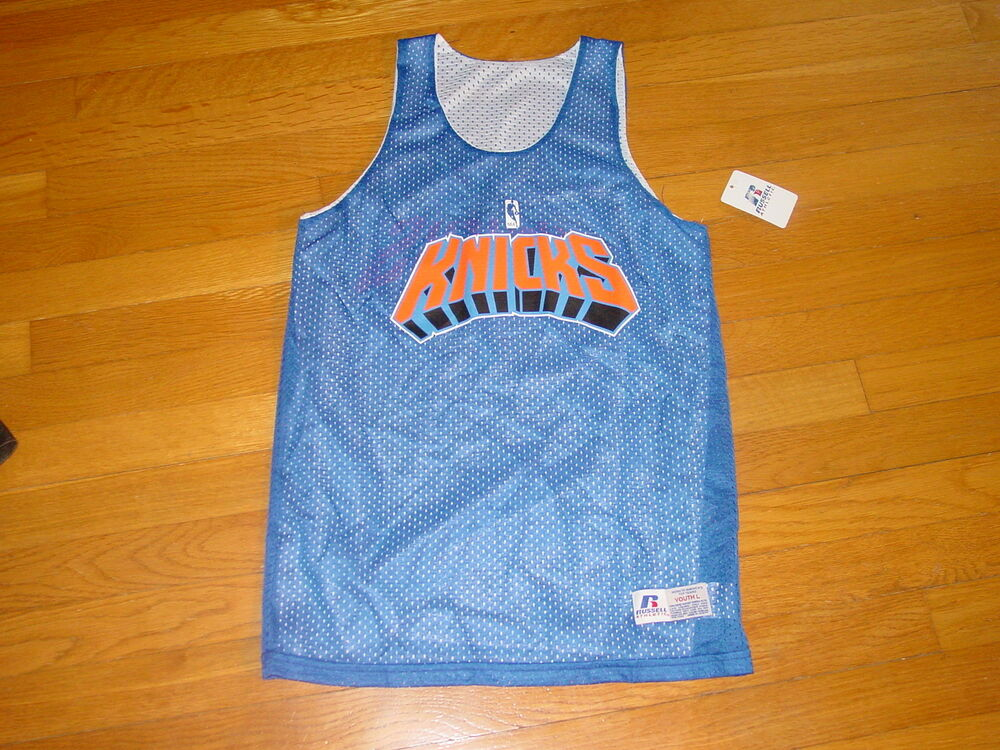 2f65e585ab9 ... wholesale quality new york knicks basketball practice jersey reversible  russell new .. small ebay 8bec3