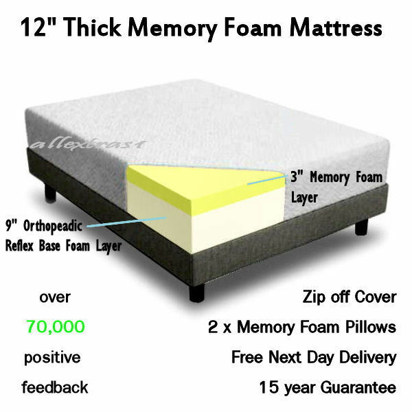12 Inch King 5ft Bed Size Memory Foam Mattress 2 Free Pillows Free Postage Ebay