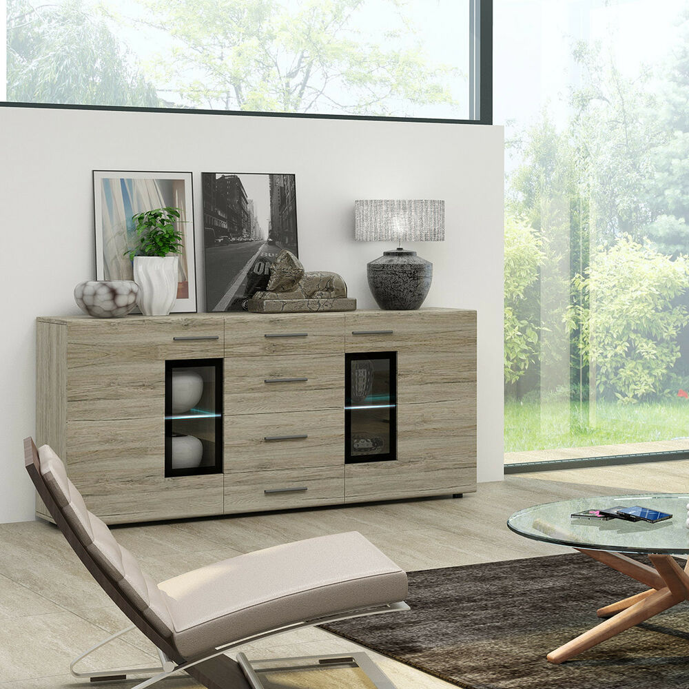 sideboard tangos anrichte kommode schrank f r wohnzimmer in eiche san remo 169 ebay. Black Bedroom Furniture Sets. Home Design Ideas