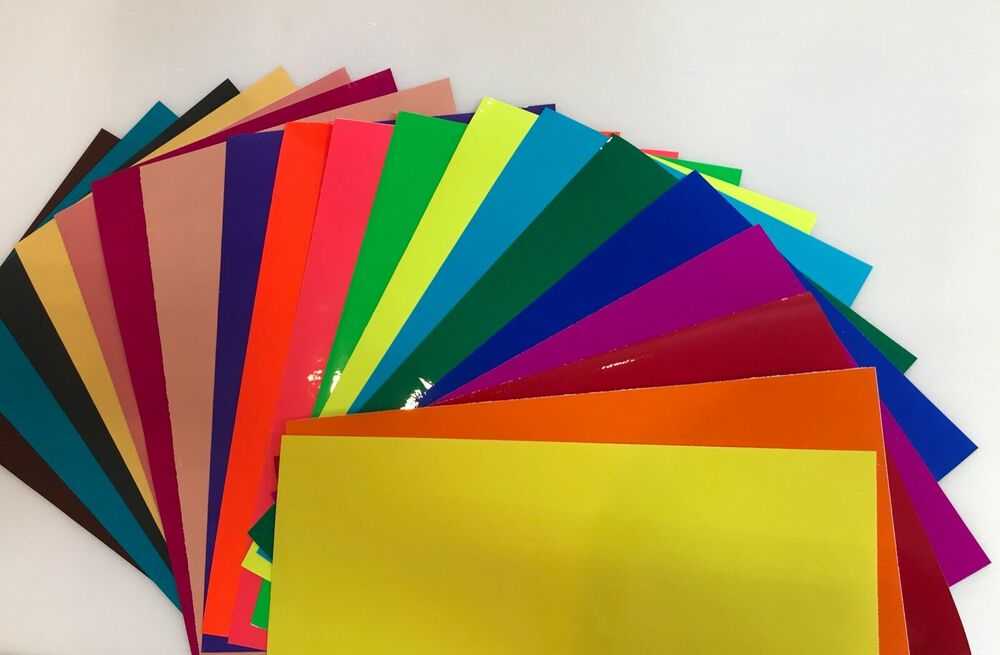 15 Colored Transparent Vinyl Sheets, 8 x 12 inch, Adhesive Coated | eBay