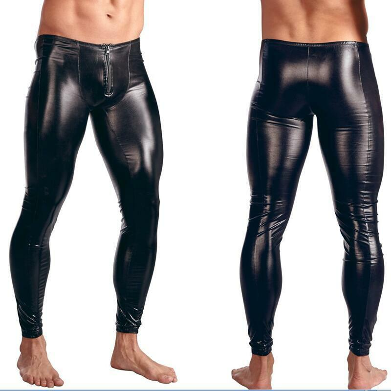 mens faux leather wetlook tight pants man leggings pvc