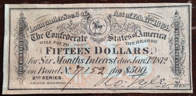A Civil War, $15 Interest receipt, from a 1864 Confederate ...
