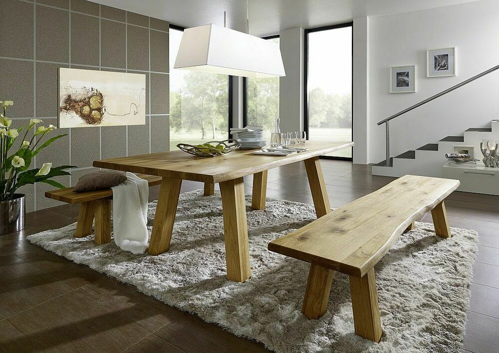 massivholz essgruppe 220x100 wildeiche massiv ge lt tisch holz bank baumkante ebay. Black Bedroom Furniture Sets. Home Design Ideas