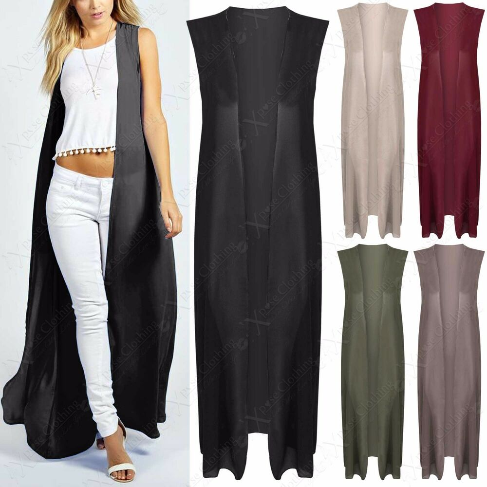 LADIES CHIFFON MAXI KIMONO WOMENS OPEN CARDIGAN SLEEVELESS KAFTAN ...