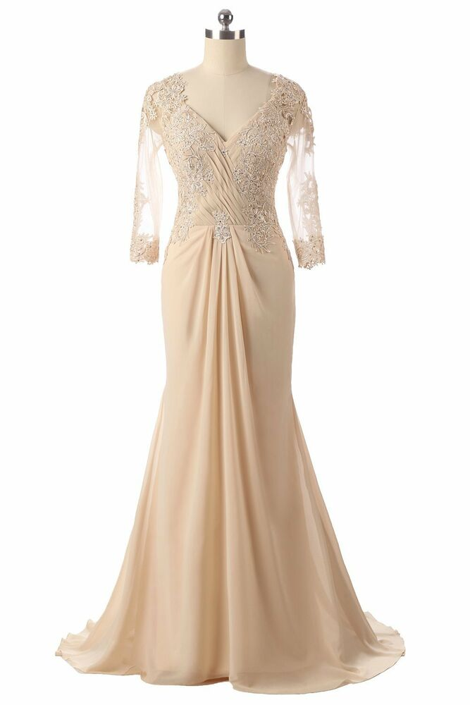 Long Sleeve Champagne Mother Of The Bride Dresses Lace