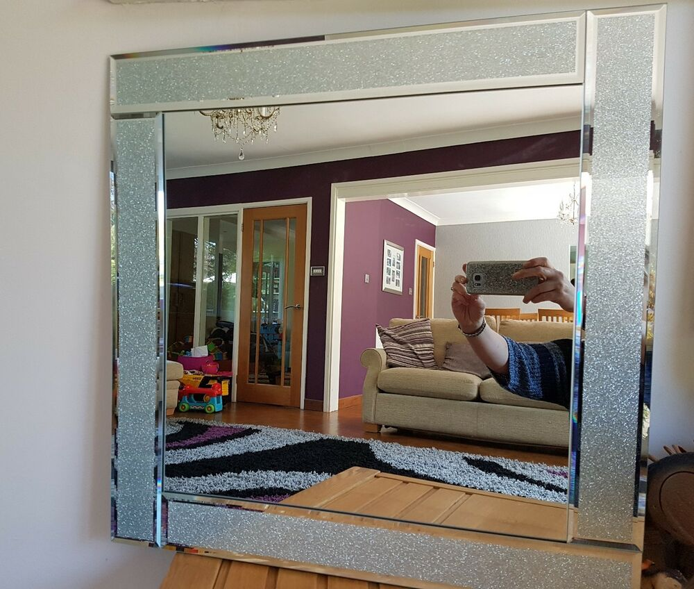Glass frame square wall mounted decorative mirrors ebay bevelled square large silver glitter mirror frame lounge wall 60x60cm sparkle amipublicfo Gallery