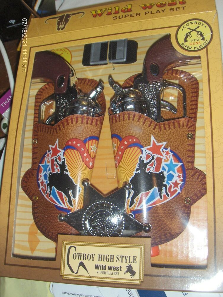 1 toy cowboy gun pistol plastic wild west play set badge belt and holster