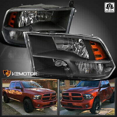 2009-2017 Dodge Ram 1500/2500/3500 Black Quad Headlights Lamps Left+Right