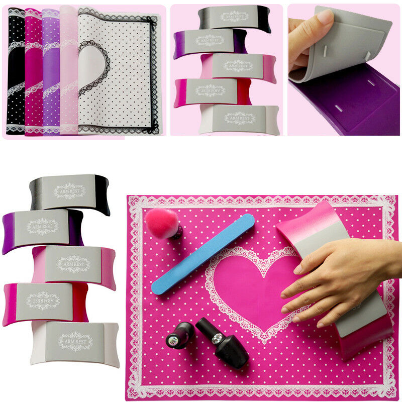 Nail Art Table Mat Cute Point Lace Silicone Foldable