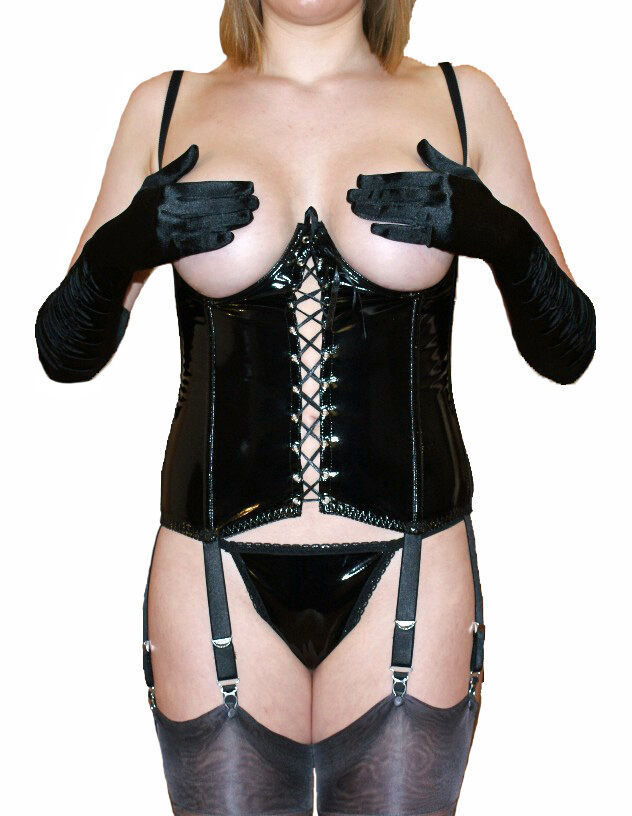 a00a6a4927d Details about NYLONZ 6 Strap Cupless   Open PVC Basque with 6 Suspenders