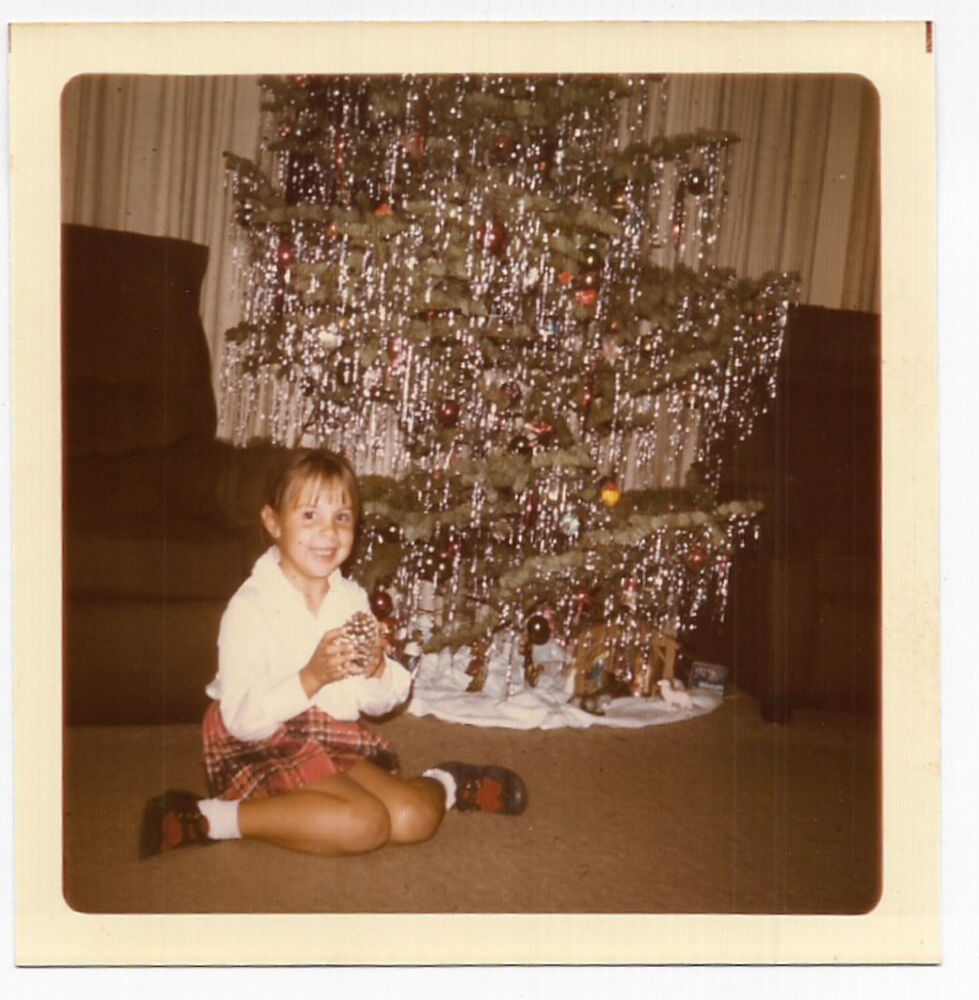 Little Girl Christmas Tree: Square Vintage 70s PHOTO Little Girl W/ Pinecone Sitting