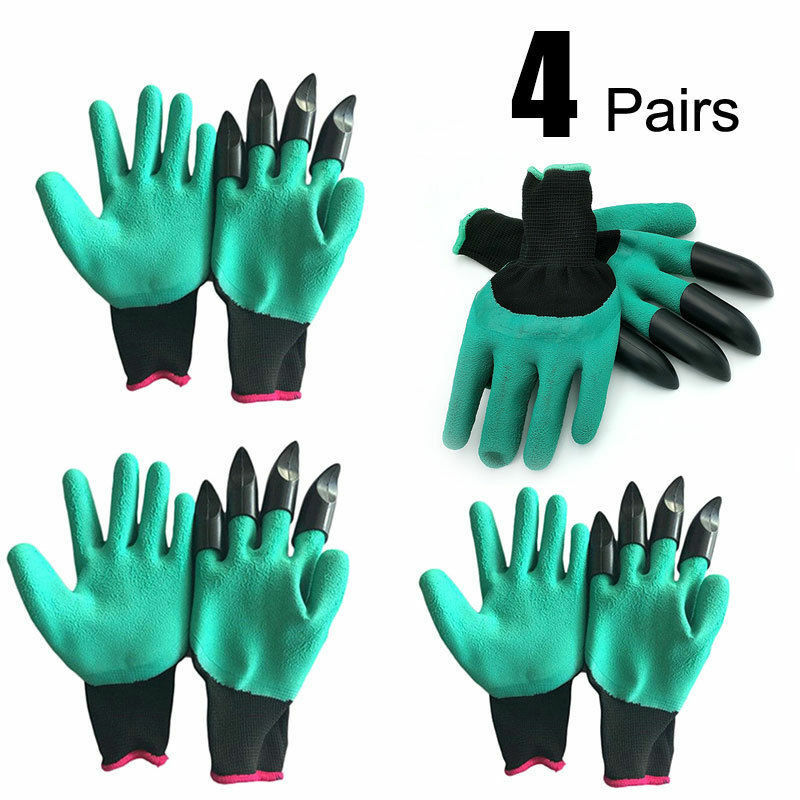 4 Pairs Garden Genie Gloves Abs Latex Claws Quick,easy To Dig Plant Safe Pruning