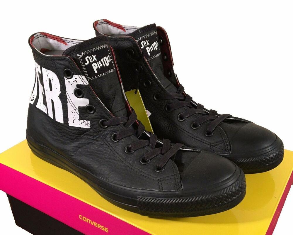 3938dfca2cdb Details about Converse Sex Pistols Chuck Taylor All Star Black Leather  Sneaker NOWHERE BOREDOM
