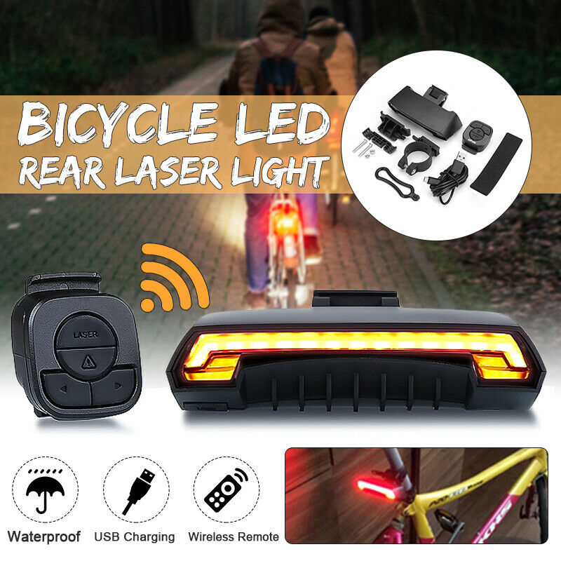 Bicycle Bike Tail Laser LED Indicator Turn Signal Light ...