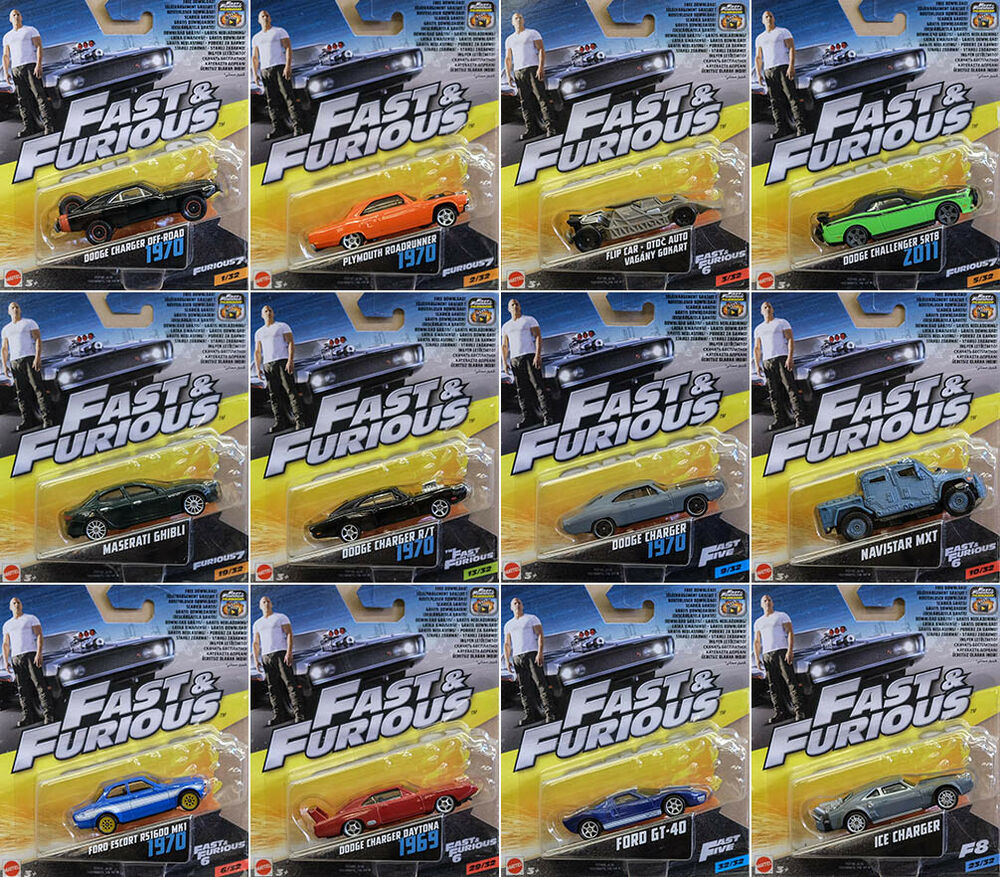 fast furious set 12 modellautos dom dodge ford plymouth. Black Bedroom Furniture Sets. Home Design Ideas
