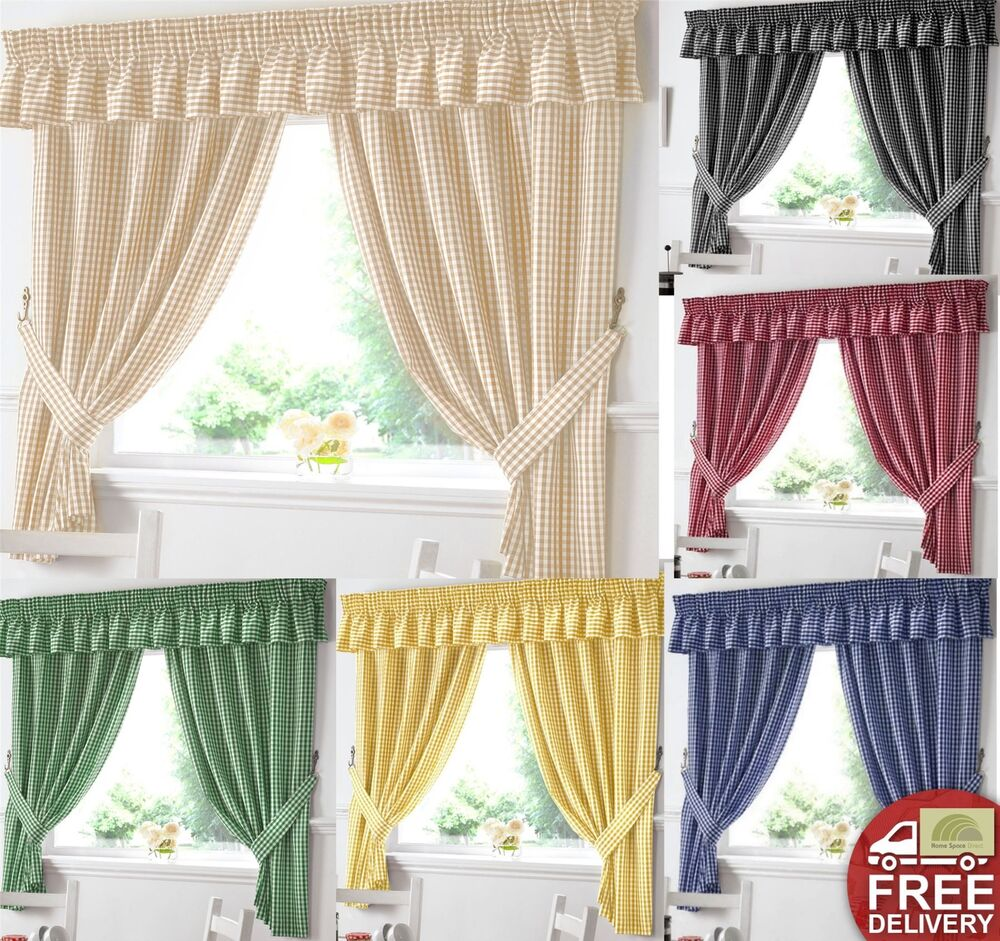 Kitchen Curtains And Valances: Gingham Kitchen Window Curtains OR Matching Pelmet
