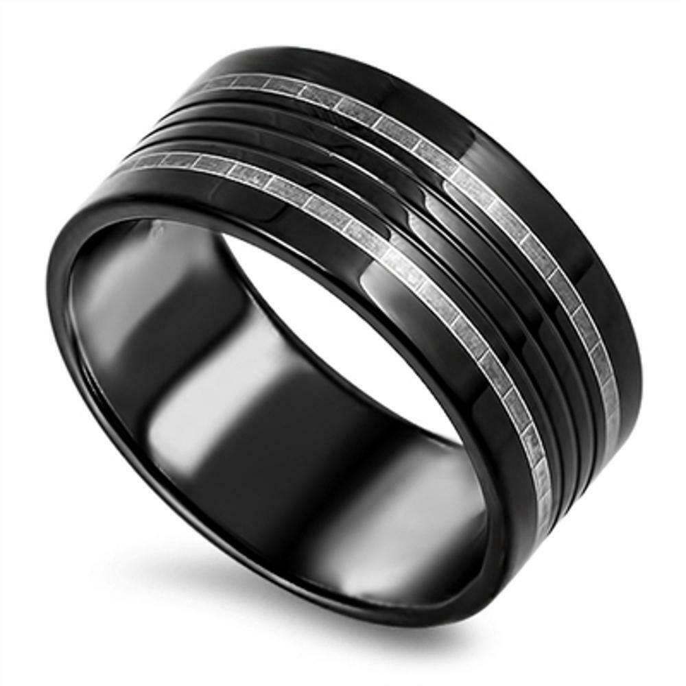 black stainless steel wedding rings black silver tone grooved men s wedding ring new stainless 1866