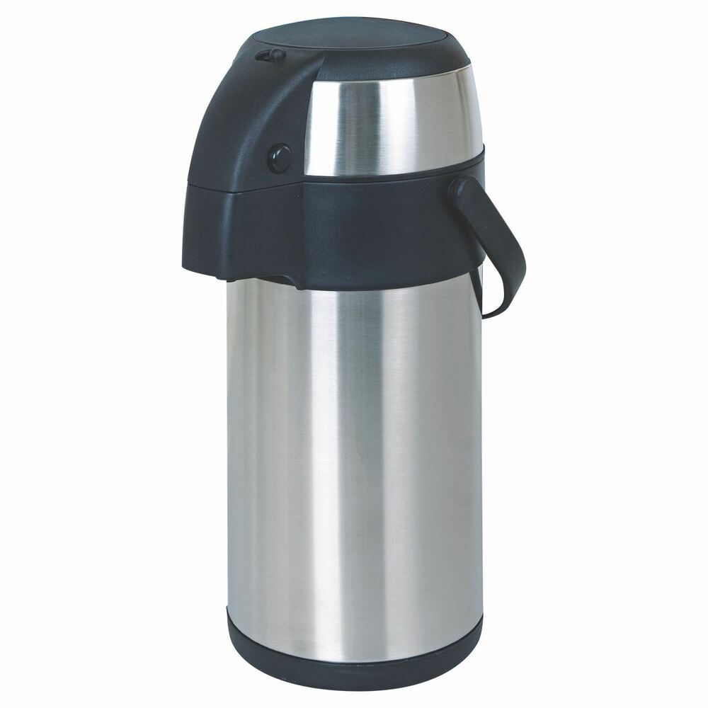 5 litre stainless steel pump action airpot vacuum flask thermos jug air pot ebay. Black Bedroom Furniture Sets. Home Design Ideas