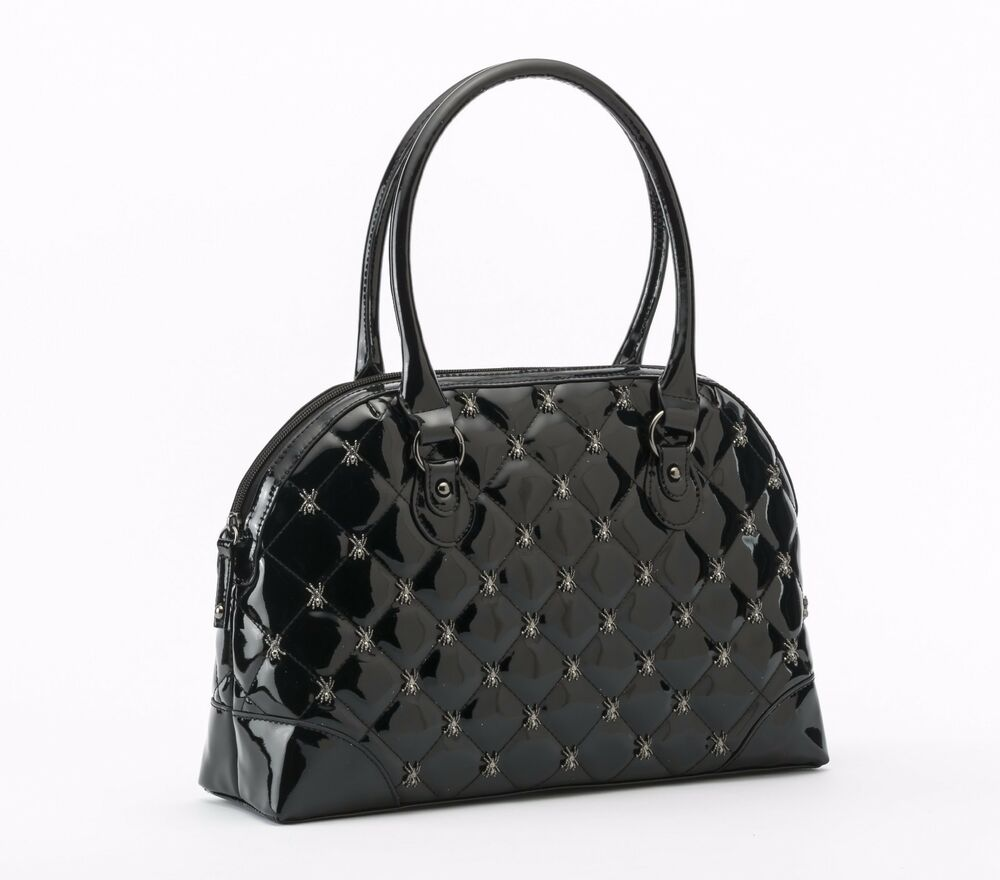 d12c6db8709e Details about Rock Rebel GG Rose Lucy Quilted Handbag Spiders Black Glitter  Goth Purse Bag