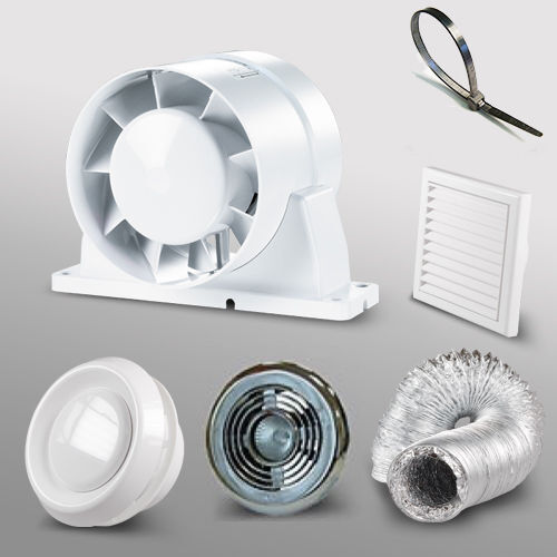 "4"" 100mm Bathroom Shower Inline Extractor Fan Kit LED Light Duct Grill Timer"