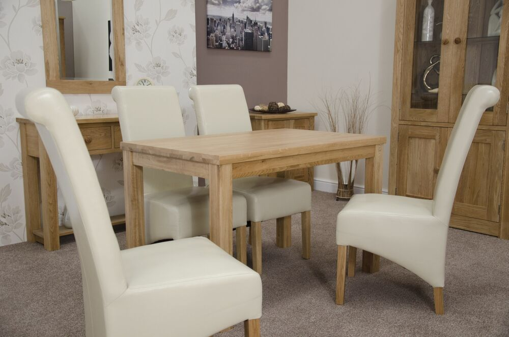 Details About Munira Solid Oak Furniture Square Dining Table And Two Leather Chairs Set