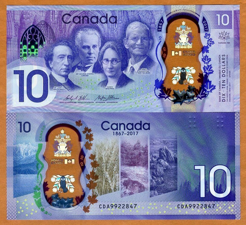 Bank of Canada, $10, 2017, Polymer, P-New, UNC ...