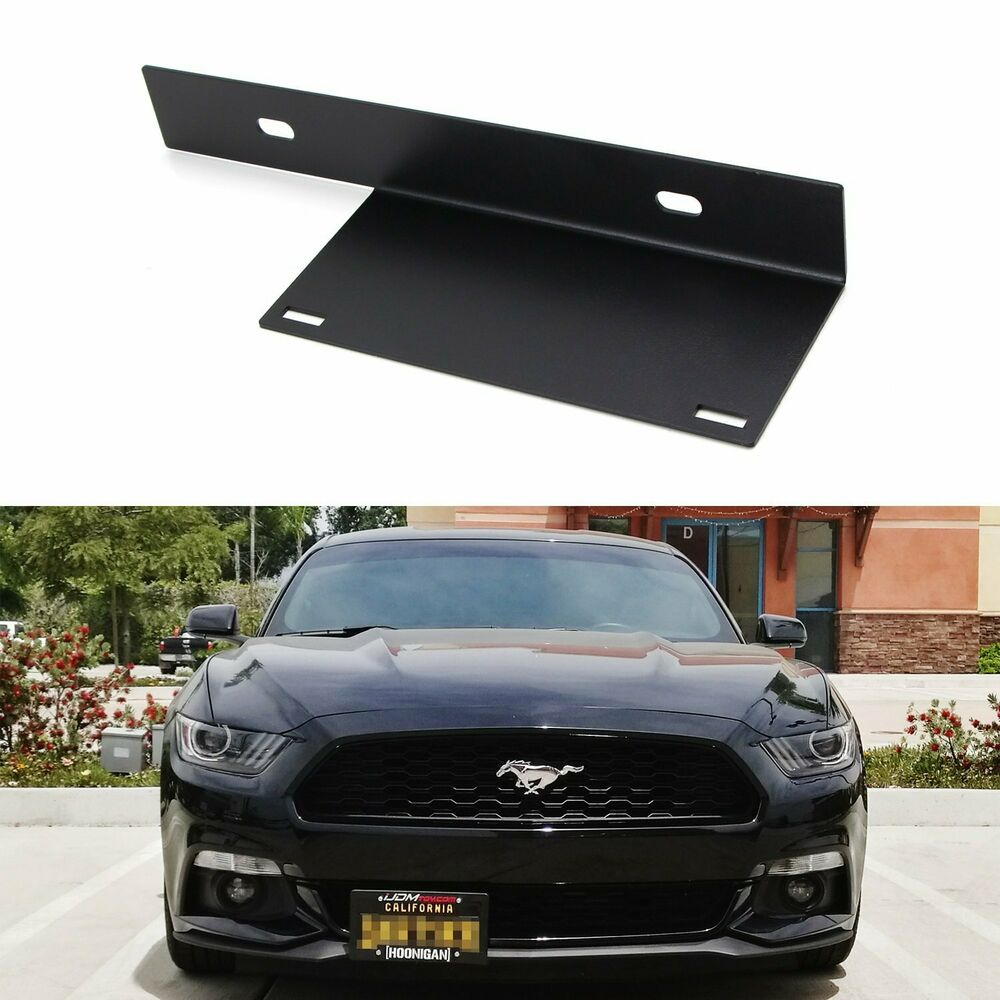 Details about no drill front bumper license plate bracket relocator for 2015 2017 ford mustang