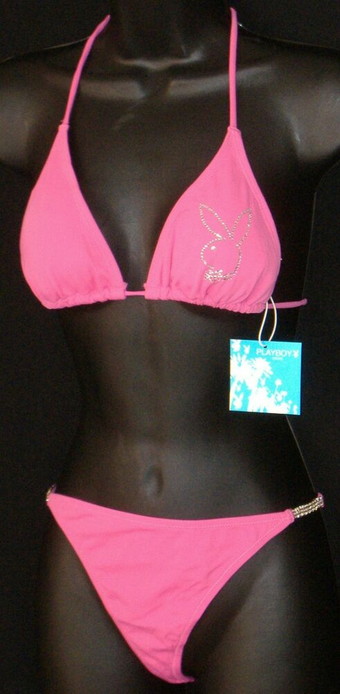 aa02dc3a7425 SALE-PLAYBOY THONG SWIMSUIT PINK WITH RHINESTONES large L