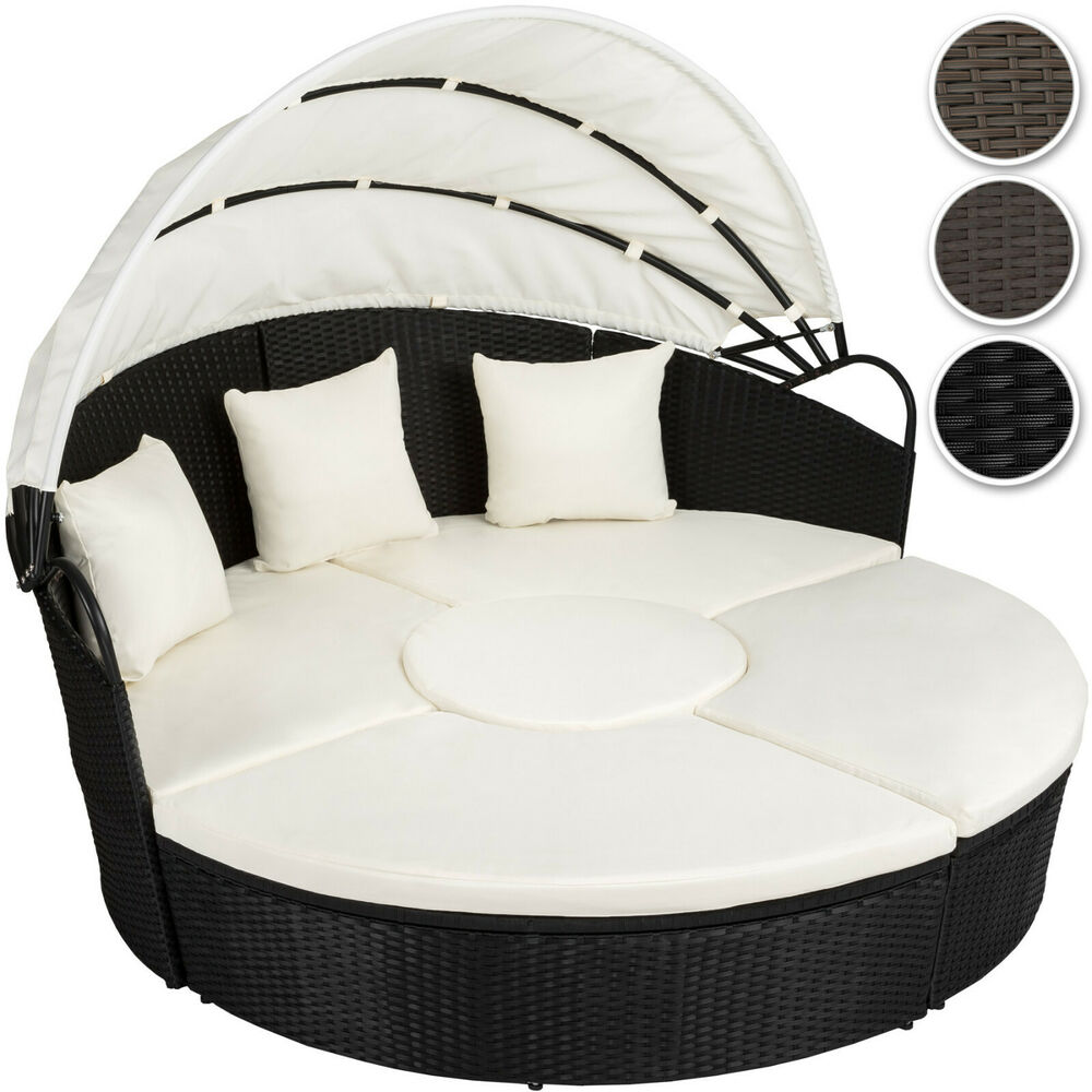 alu rattan sonneninsel sonnenliege sitzgruppe gartenlounge sitzgarnitur braun ebay. Black Bedroom Furniture Sets. Home Design Ideas
