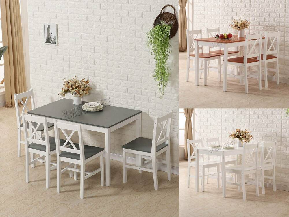westwood quality solid wooden dining table and 4 chairs set kitchen home ds03 ebay. Black Bedroom Furniture Sets. Home Design Ideas