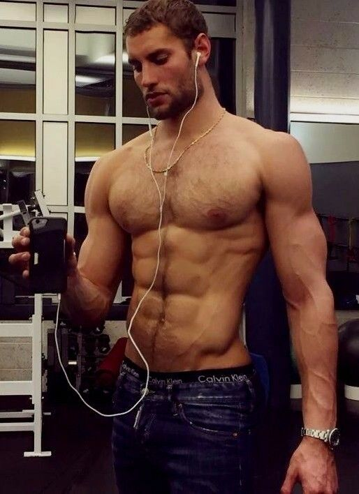 Shirtless Male Muscular Hairy Chest Beefcake Thick Beard