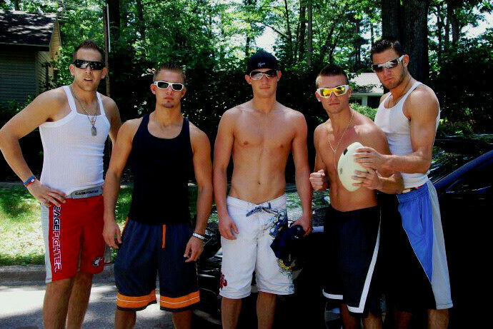 Shirtless Male Frat Boy College Guys Shorts Outdoors Jocks -2405