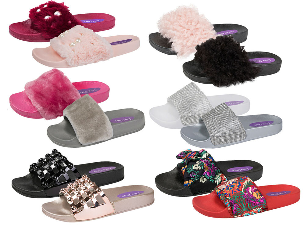 b57f04ad836a90 Details about Womens Diamante Fur Sliders Fluffy Mules Slippers Flip Flops Sandals  Girls Shoes