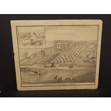 Illinois Cass County Map  Farm Residence of C.N. Crum Engravings  1874  !J14#91