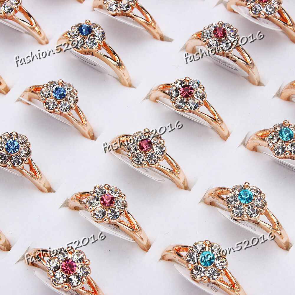 Details about Fashion 5pcs Wholesale Jewelry Mixed Lots Women s Gold Plated Rhinestone  Rings c2f362035