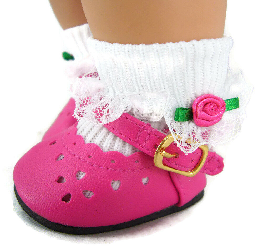 Hot Pink Shoes Socks For Bitty Baby Twins Doll Clothes Sew