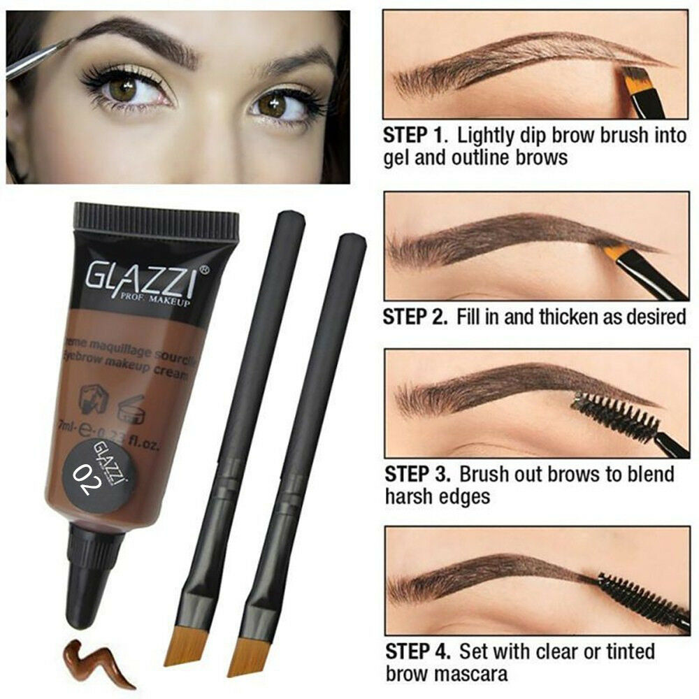 Henna Tattoo Color Brown: Brown Waterproof Tint Eyebrow Henna With 2PC Mascara
