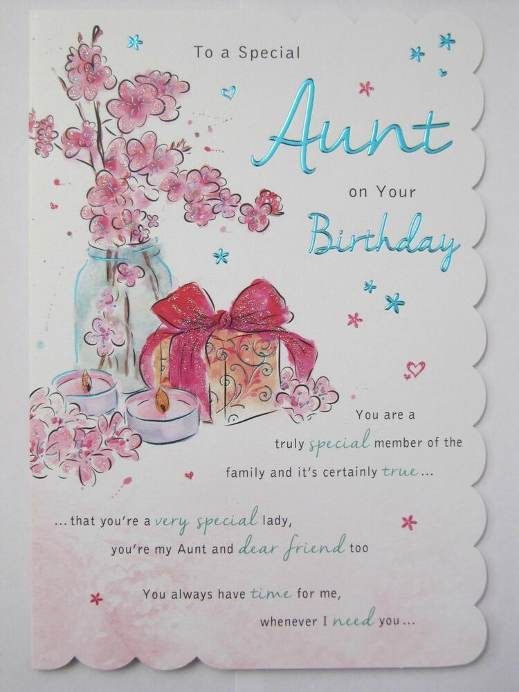 Details About STUNNING TOP RANGE WONDERFULLY WORDED 5 VERSE TO A SPECIAL AUNT BIRTHDAY CARD