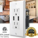 Fosmon Outlet Tamper Resistant TR Receptacle 15 A Wall Plate + 2 4.2A USB Port