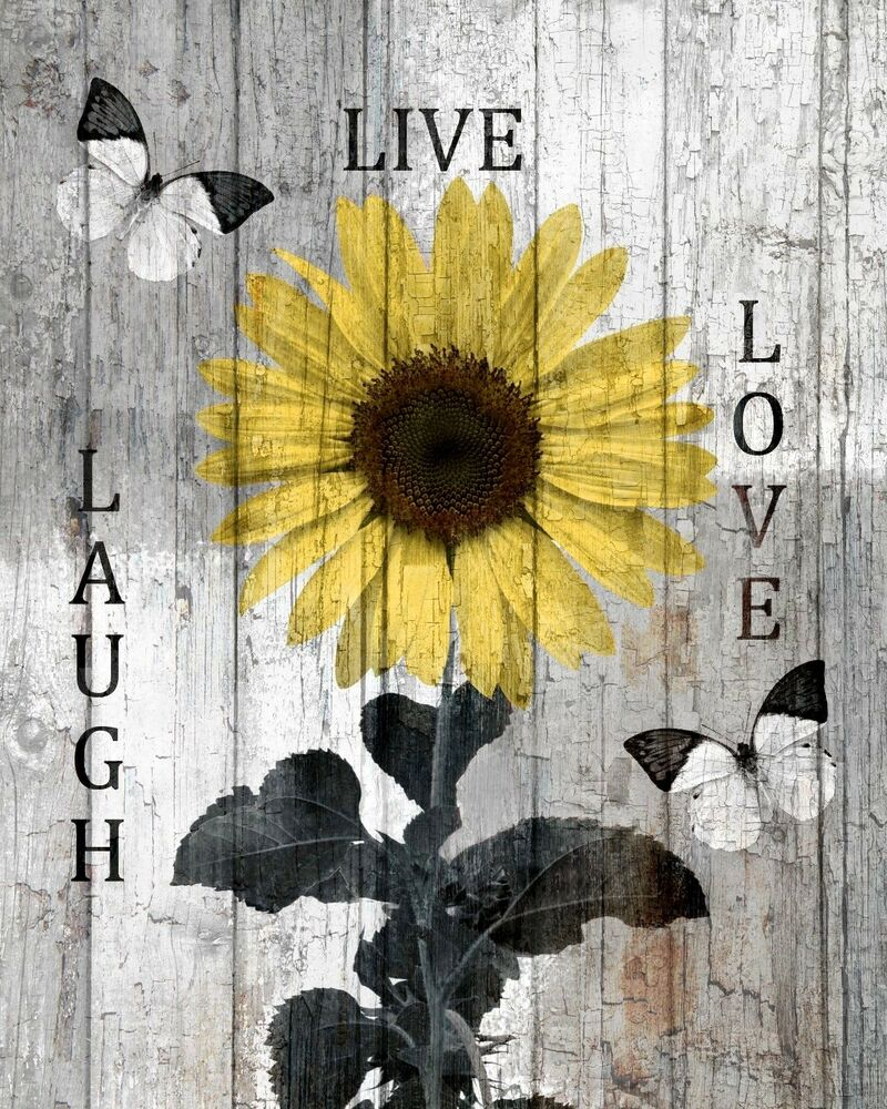 Rustic Sunflower Decor, Live Laugh Love Home Wall Art Matted Picture ...