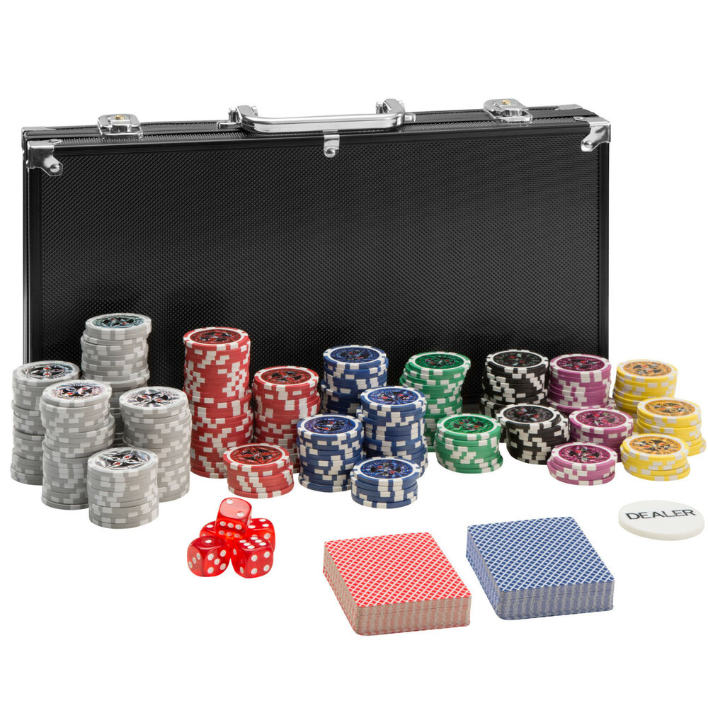 pokerkoffer pokerset 300 chips laser pokerchips poker set jetons alu koffer schw ebay. Black Bedroom Furniture Sets. Home Design Ideas