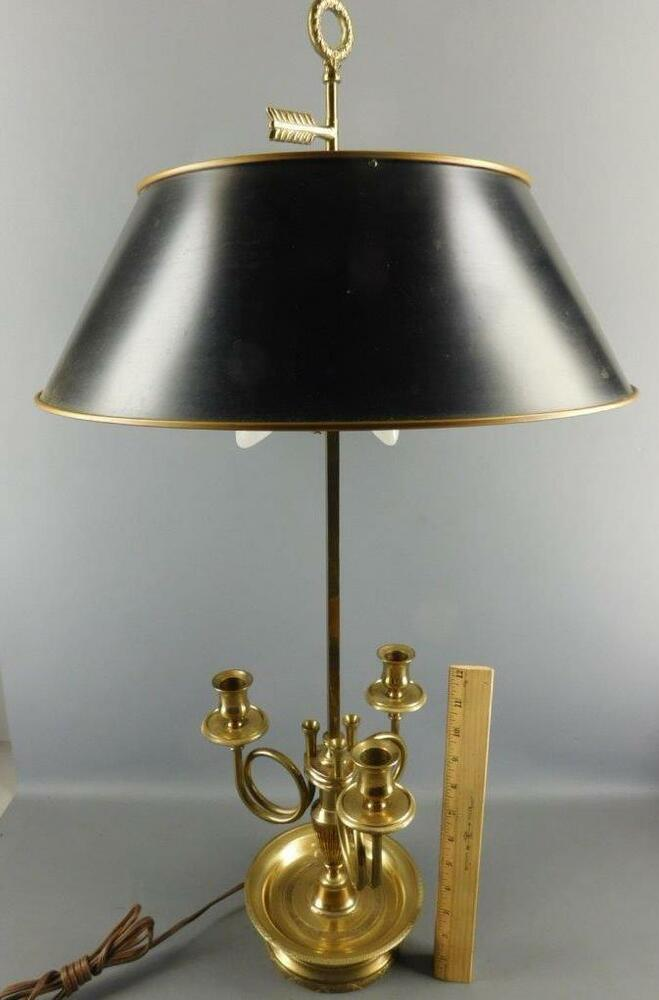 Vintage French Hunt Horn Tole Shade 3 Arm Candle Brass