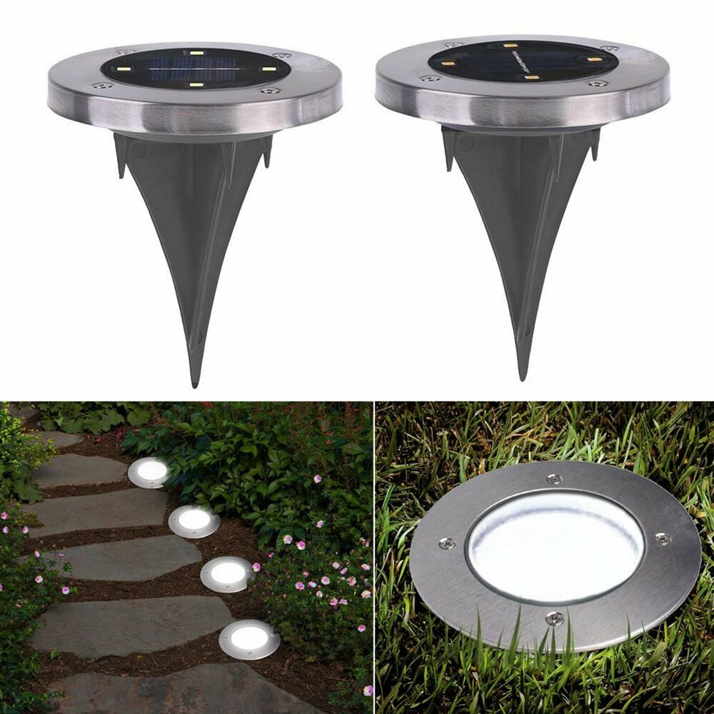 Outdoor Solar Lights In Ground: 4 LED Buried Solar Power Light Under Ground Lamp Outdoor