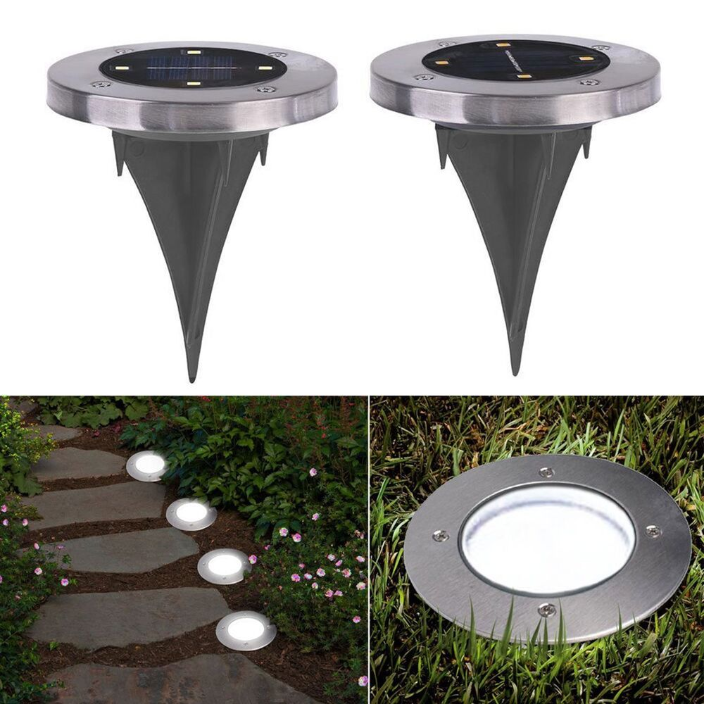 4 led buried solar power light under ground lamp outdoor path way garden decking ebay. Black Bedroom Furniture Sets. Home Design Ideas