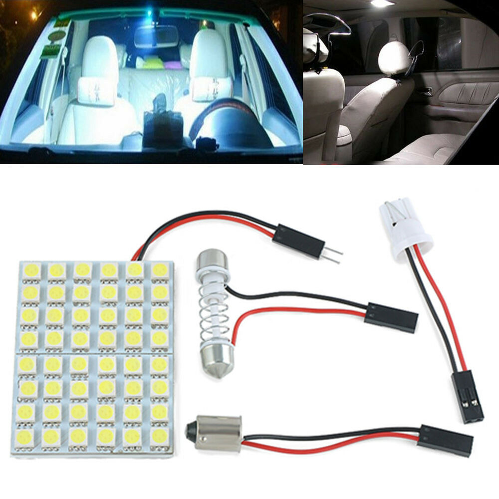 48 smd 5050 led car interior white light lamp panel t10 festoon dome ba9s 12v ebay. Black Bedroom Furniture Sets. Home Design Ideas