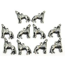 10 Pewter Coyote Charms - 0371