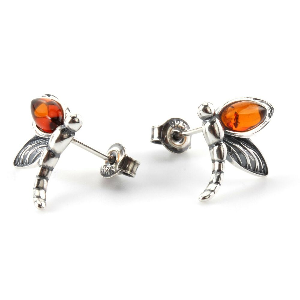 c43b29c90 Details about BALTIC AMBER DRAGONFLY STUD EARRINGS STERLING SILVER OXIDISED  NEW