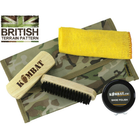 img-Combat Boot Cleaning Shoe Care Kit Pouch British Army Camo Black Brown Polish