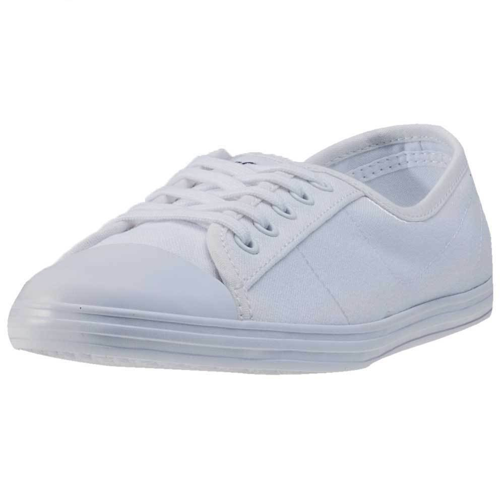 a26ea0caa Details about Lacoste Ziane Bl 2 Womens White Canvas Casual Trainers  Lace-up Genuine Shoes